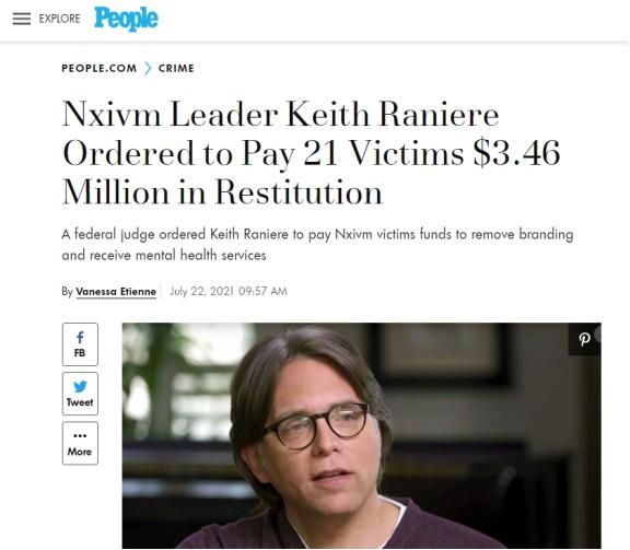 美联邦法官判决NXIVM性邪教头目向21名女性受害者支付巨额赔偿